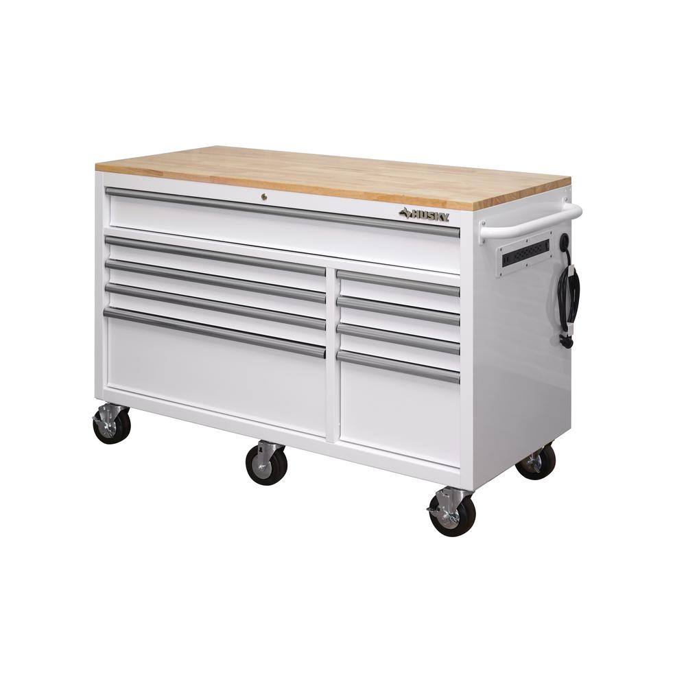 Husky 9 Drawer Mobile Workbench Storage Tool Chest Solid Wood Top