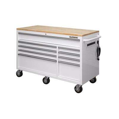 56 in. 9-Drawer Mobile Workbench with Solid Wood Top, White