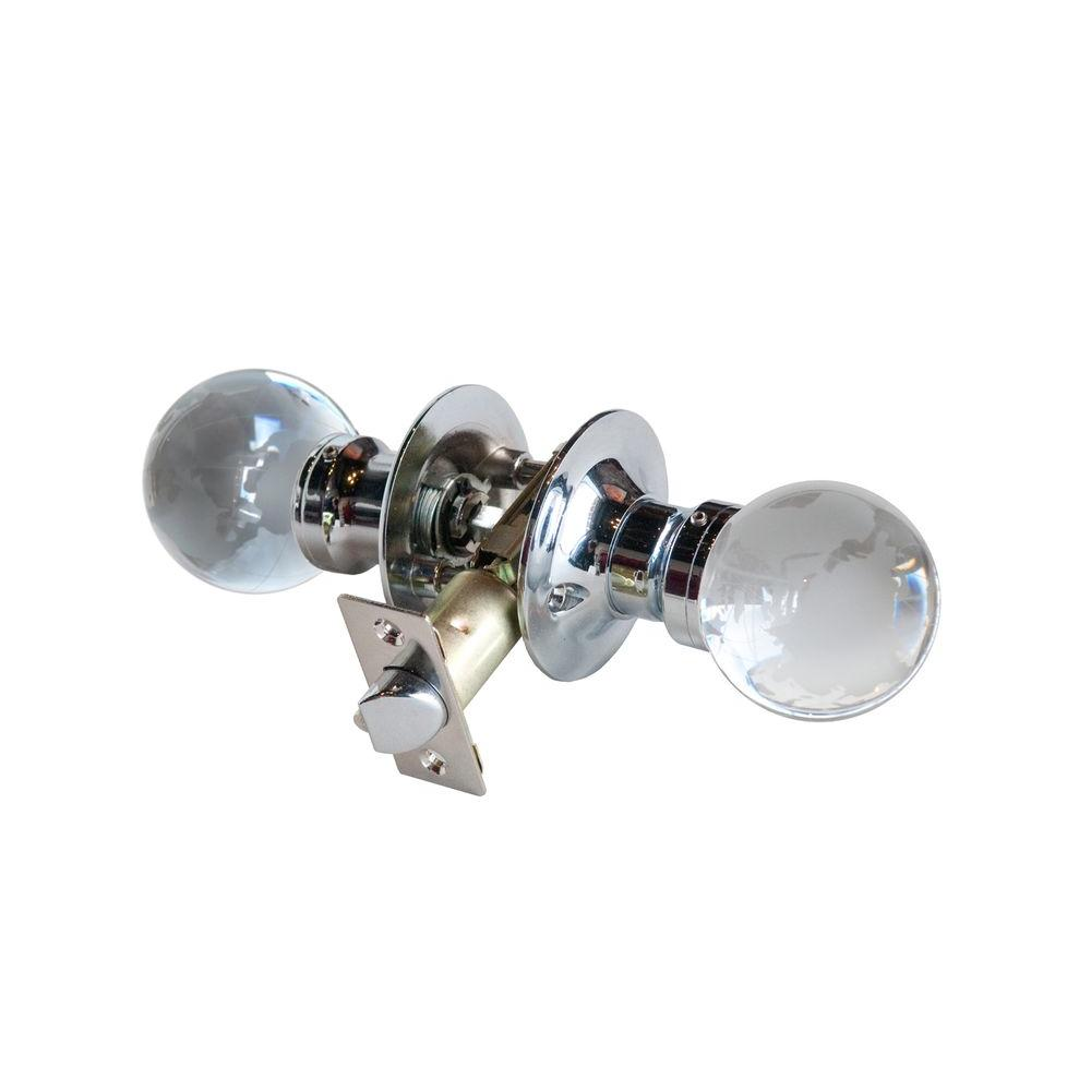 Krystal Touch of NY Globe Crystal Chrome Passive Door Knob with LED Mixing Lighting Touch Activated