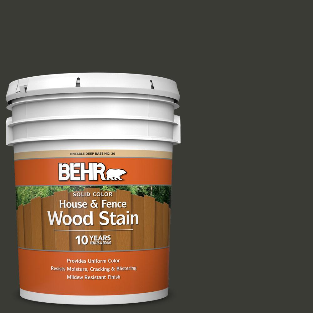 BEHR 5 gal. #ECC-10-2 Jet Black Solid Color House and Fence Exterior Wood Stain