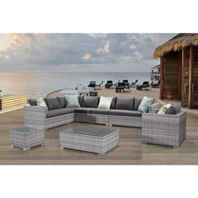 Generoso 7-Piece All-Weather Light Gray Wicker Patio Sectional Set with Gray Cushions