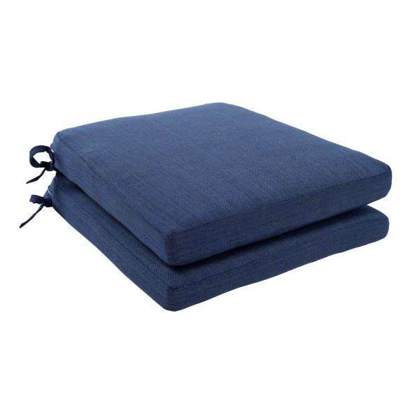 Spring Haven 18 in. x 18 in. Outdoor Dining Chair Replacement Cushion in Standard Blue (2-Pack)