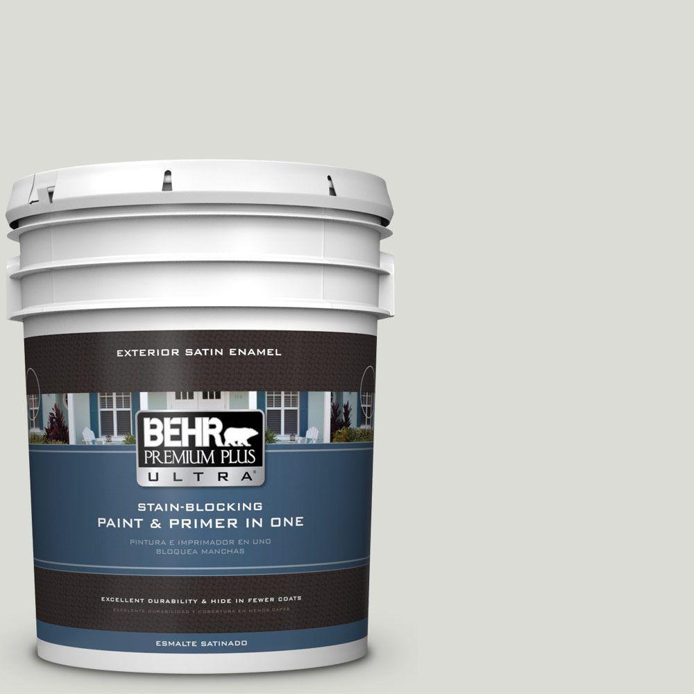BEHR Premium Plus Ultra 5-gal. #bwc-29 Silver Feather Satin Enamel Exterior Paint
