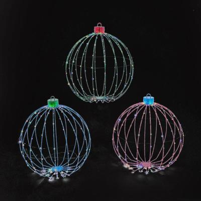 29.9 in. H Assorted Metal Wire Collapsible Ornaments with Remote Control Feature (Set of 3)