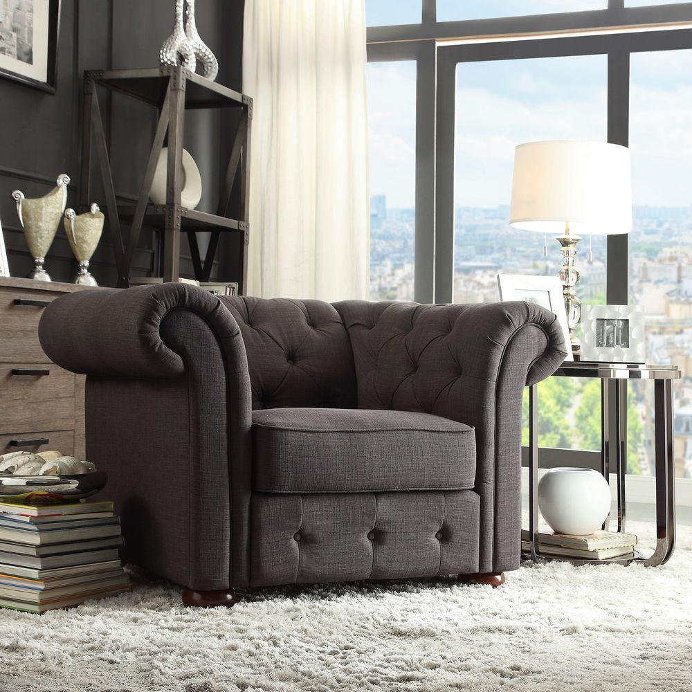Radcliffe Dark Grey Linen Arm Chair