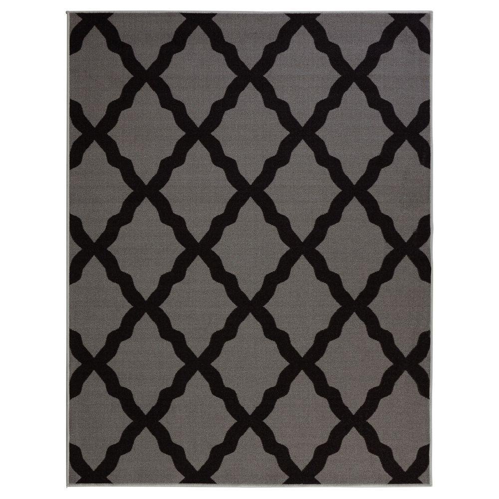 Glamour Collection Contemporary Moroccan Trellis Dark Gray 3 Ft X 5 Kids Area Rug