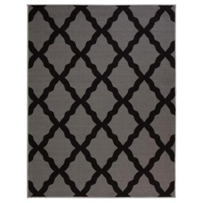 Glamour Collection Contemporary Moroccan Trellis Dark Gray 3 ft. x 5 ft. Kids Area Rug
