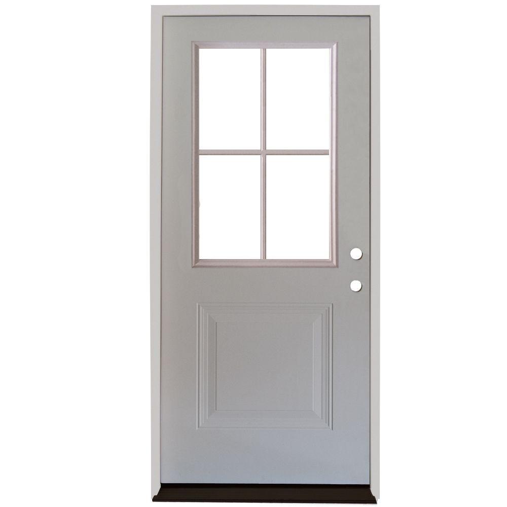 Premium 4 Lite 1 Panel Primed White Steel Prehung Front Door With In