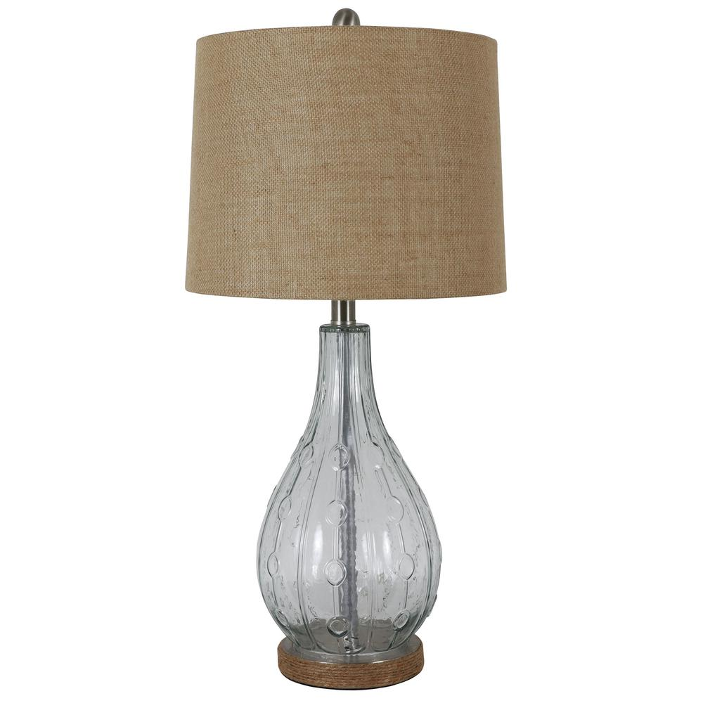 Decor Therapy Emma Embossed 27.5 in. Clear Table Lamp with Burlap Shade