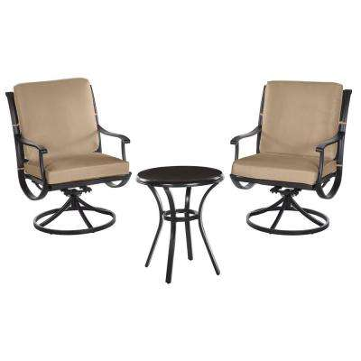 Redwood Valley Black 3-Piece Steel Outdoor Patio Bistro Set with CushionGuard Toffee Tan Cushions