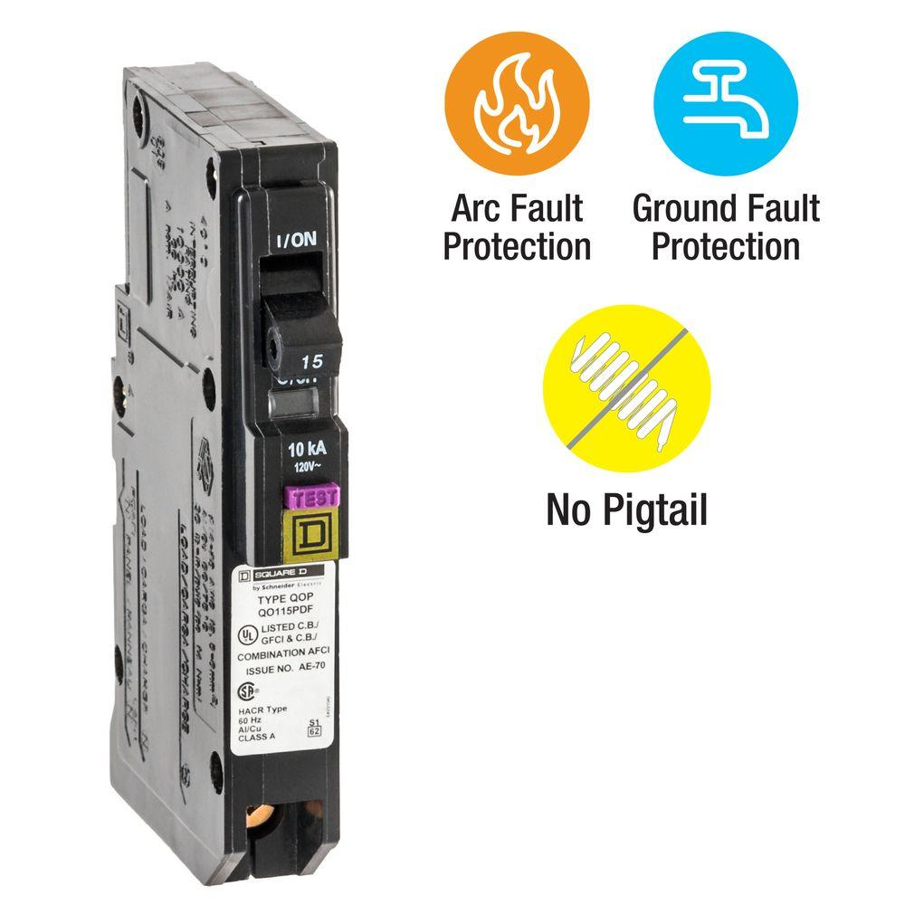 QO 15 Amp Single-Pole Plug-On Neutral Dual Function (CAFCI and GFCI)