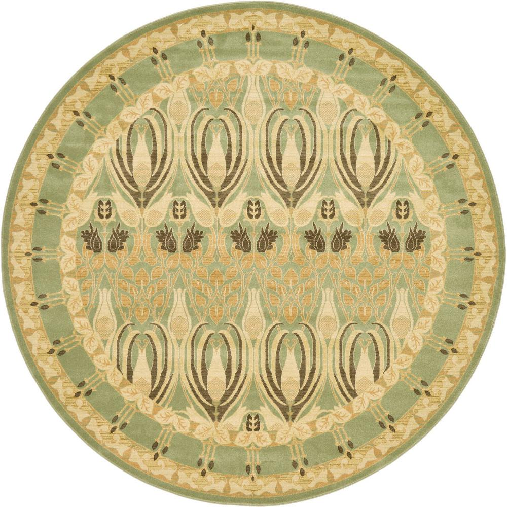Heritage Light Green 8 ft. x 8 ft. Round Area Rug