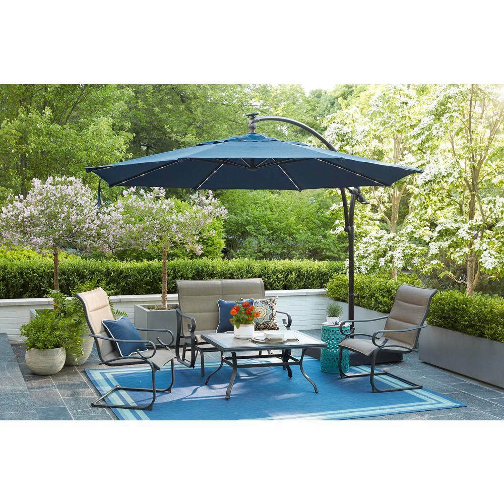 Hampton Bay - 11 ft. Aluminum Cantilever Solar LED Offset Outdoor Patio Umbrella in Midnight Navy Blue