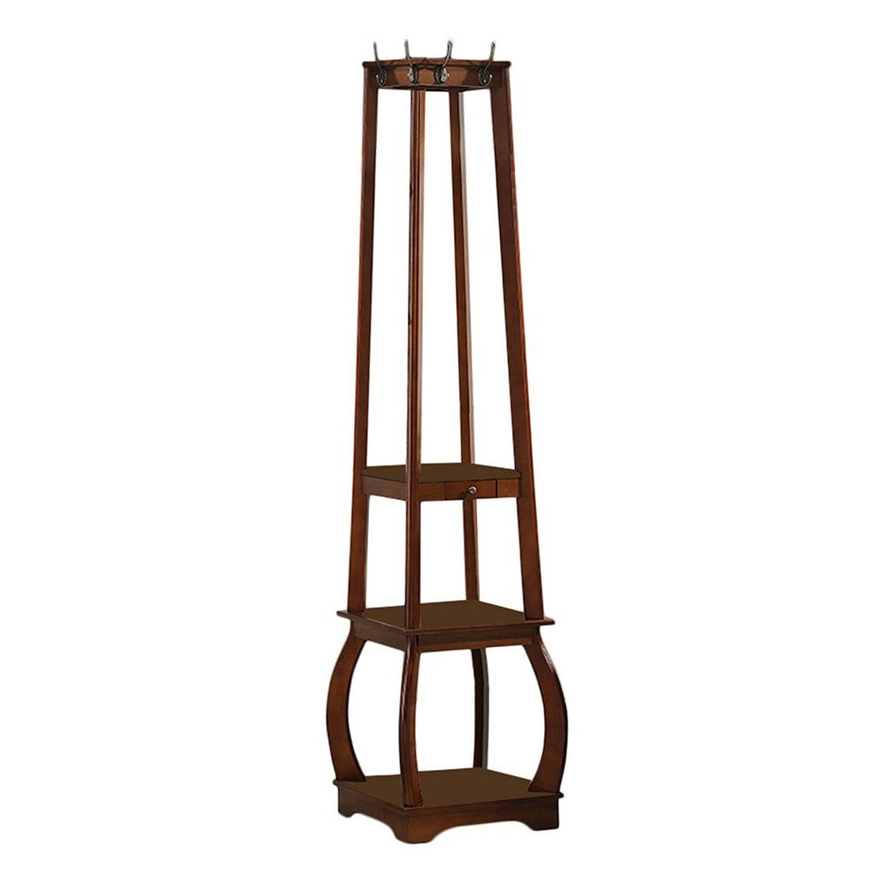 Walnut Wood Hall Tree with 8-Hooks and Shelves