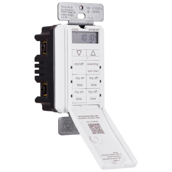 24-Hour Indoor In-Wall Timer with 2 Custom ON/OFF Times, White