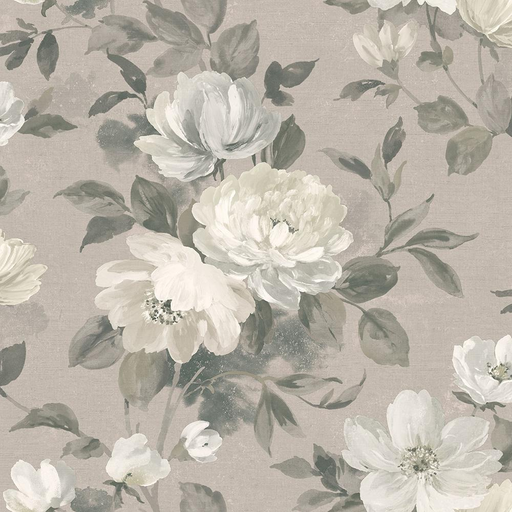 Wall Vision Peony Light Grey Floral Wallpaper Sample 2827 7225sam