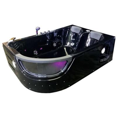 Orion with Heater 71 in. Acrylic Center Drain Rectangular Alcove Whirlpool Bathtub in Black