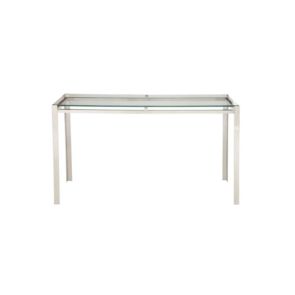 Litton Lane Clear Gl And Silver Modern Console Table