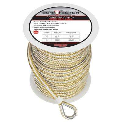 3/8 in. x 200 ft. BoatTector Double Braid Nylon Anchor Line with Thimble in White and Gold