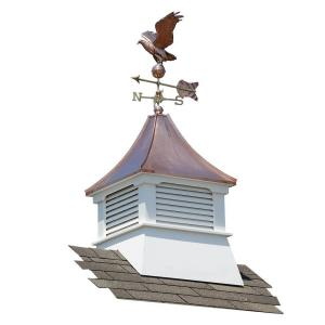 Accentua Olympia 24 inch x 24 inch x 62 inch Composite Vinyl Cupola with Copper Roof and Weathervane by Accentua