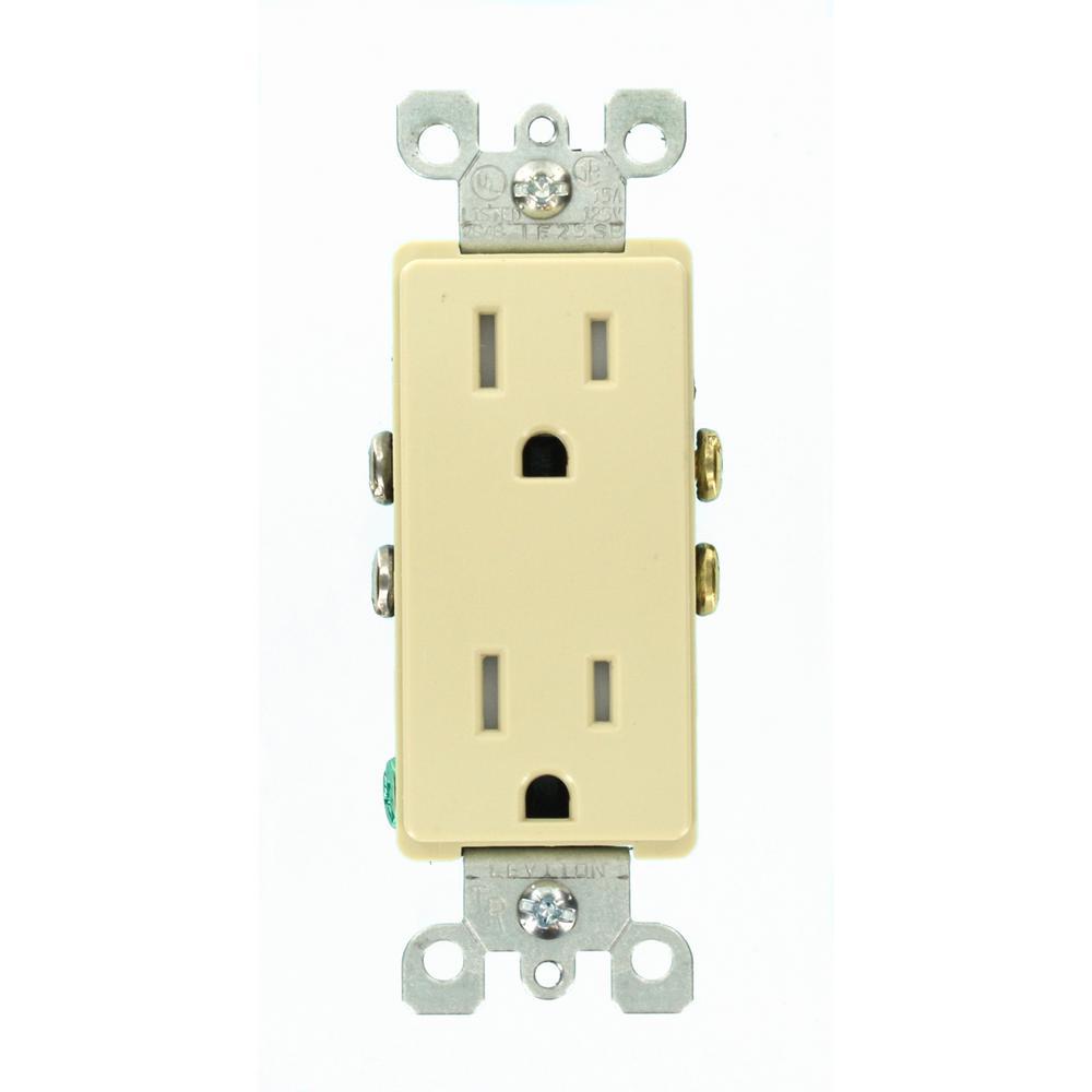 Decora 15 Amp Tamper Resistant Power Duplex Outlet, Ivory