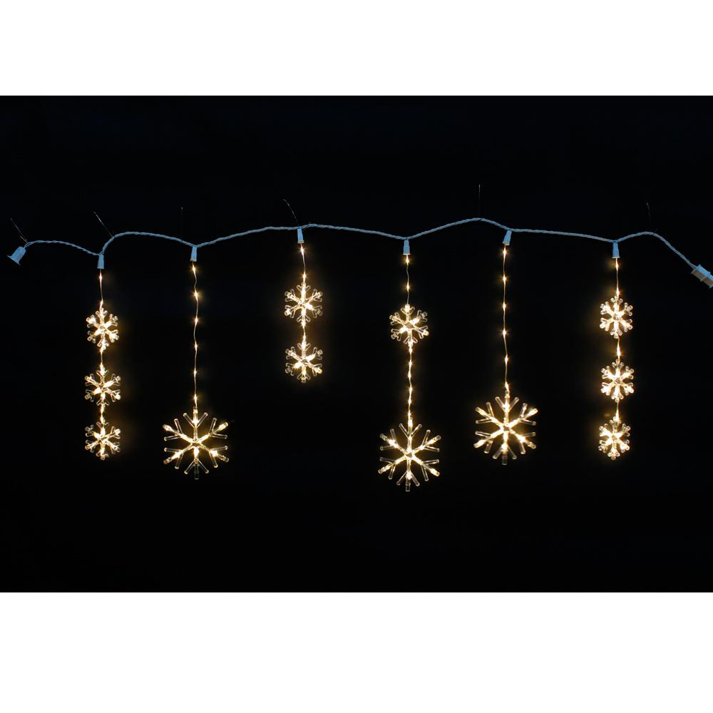 Home Accents Holiday 64 In 150 Light Warm White Micro Dot Led Snowflake Icicle Light