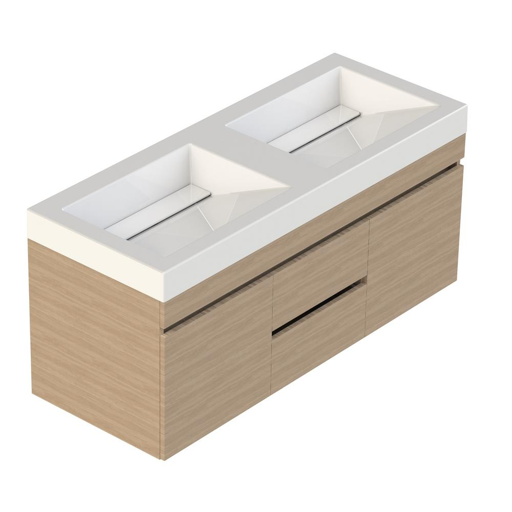 Lift Bridge Kitchen & Bath Viteli Plus Genova 48 in. W x 19 in. D Vanity in Latte with Cultured Marble Vanity Top in White with Double White Basin
