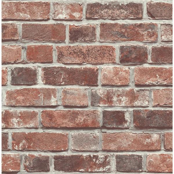 Distressed Red Brick Vinyl Peelable Wallpaper (Covers 30.75 sq. ft.)