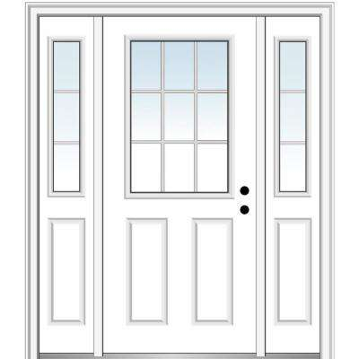64.5 in. x 81.75 in. Internal Grilles Left-Hand Inswing 1/2-Lite Clear Primed Steel Prehung Front Door with Sidelites