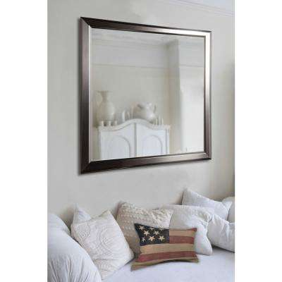 31 in. x 37 in. Ava Sleek Silver Non Beveled Decorative Wall Mirror