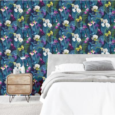 Pindorama Floral Navy Peel and Stick Non-Woven Wallpaper