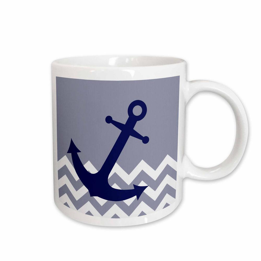 Janna Salak Designs Nautical Blue Nautical Boat Anchor on Chevron Pattern 11 oz. White Ceramic Coffee Cup
