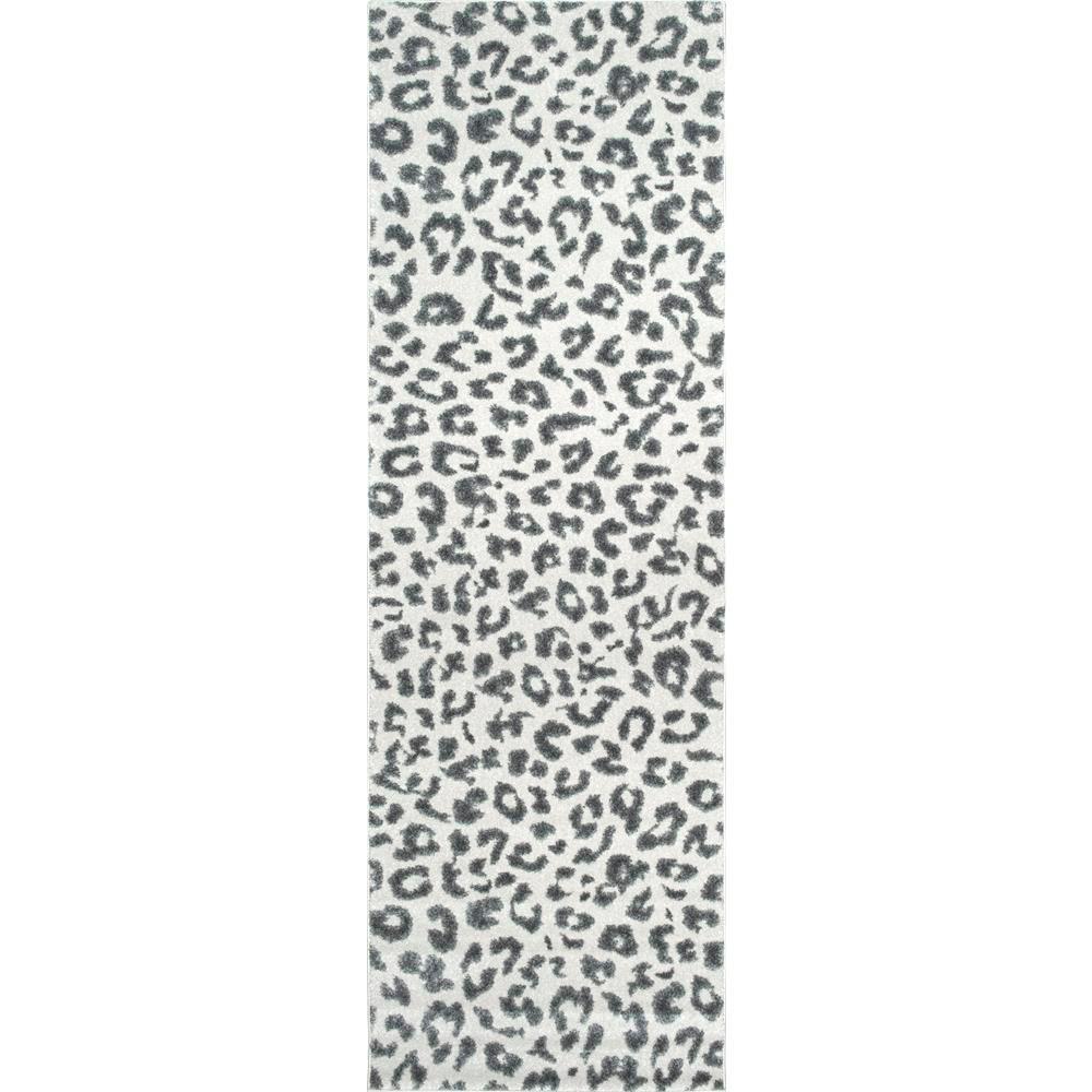 Animal Print Rug Grey: NuLOOM Leopard Print Grey 3 Ft. X 8 Ft. Runner Rug-RZBD61A