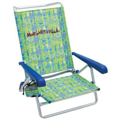 Classic Plastic Fish Print 5-Position Lay Flat Lawn Chair with Arms
