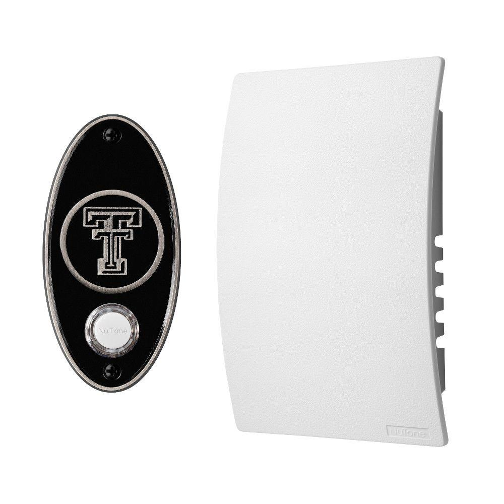 NuTone College Pride Texas Tech University Wired/Wireless Door Chime Mechanism and Pushbutton Kit - Satin Nickel
