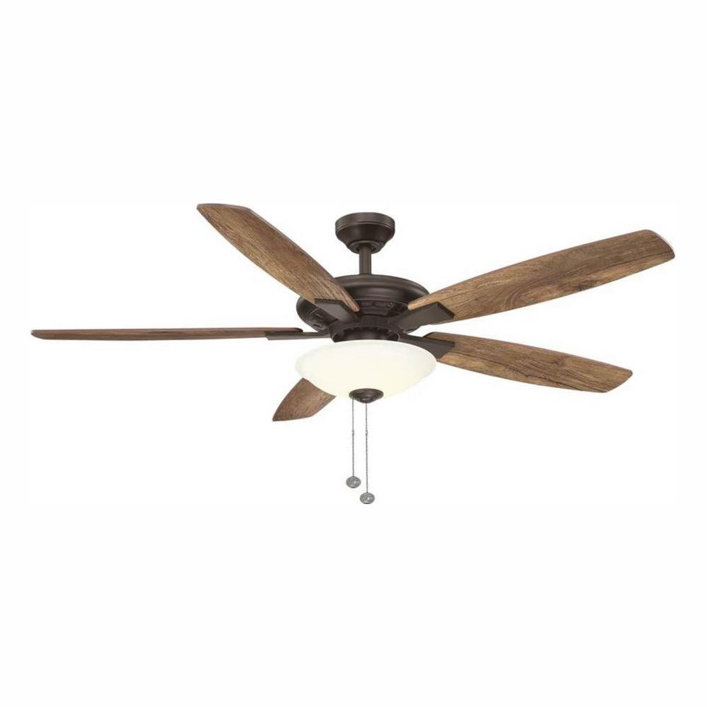 hamptonbay Hampton Bay Menage 56 in. Integrated LED Indoor Low Profile Oil Rubbed Bronze Ceiling Fan with Light Kit