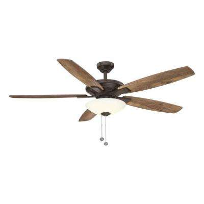 Menage 56 in. Integrated LED Indoor Low Profile Oil Rubbed Bronze Ceiling Fan with Light Kit