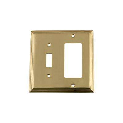 Deco Switch Plate with Toggle and Rocker in Unlacquered Brass