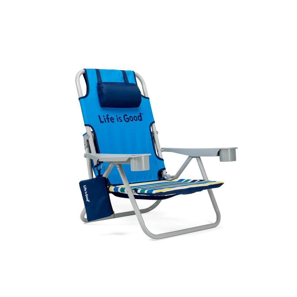 Jake Blue Aluminum Folding and Reclining Beach Chair