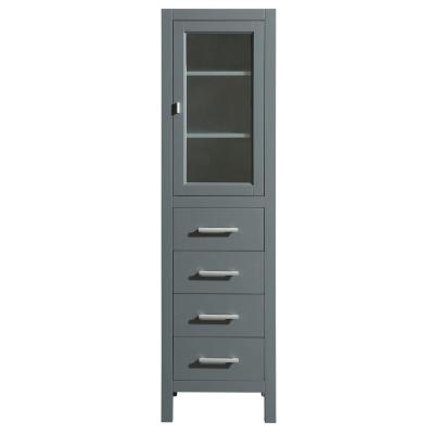 London 18 in. W x 65 in. H x 17 in. D Bathroom Linen Storage Cabinet in Gray