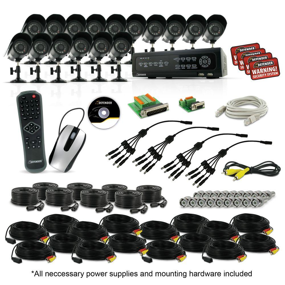 Defender 16 Ch. 500 GB Hard Drive Surveillance System with 16 420 TVL Cameras-DISCONTINUED