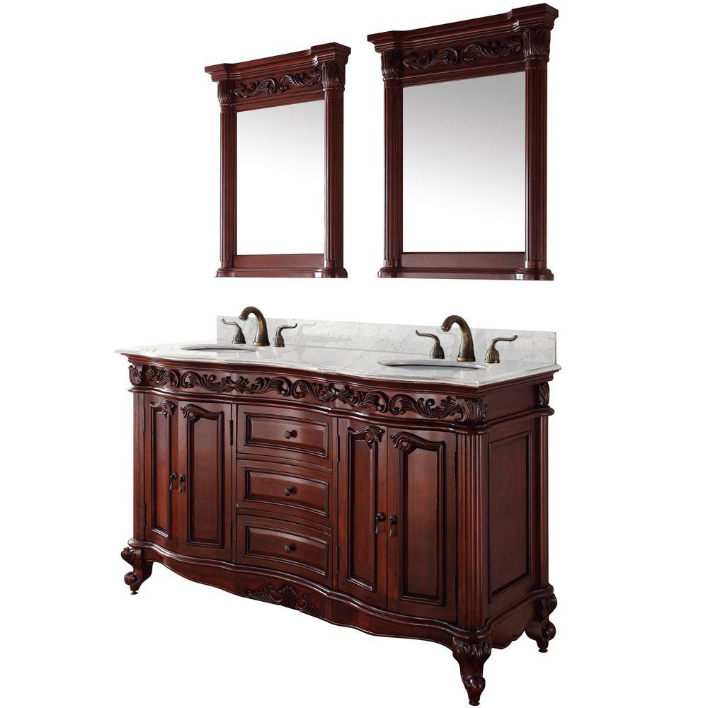 Wyndham Collection Eleanor 61 in. Vanity in Cherry with Double Basin Marble Vanity Top in Carrera White and Mirrors-DISCONTINUED