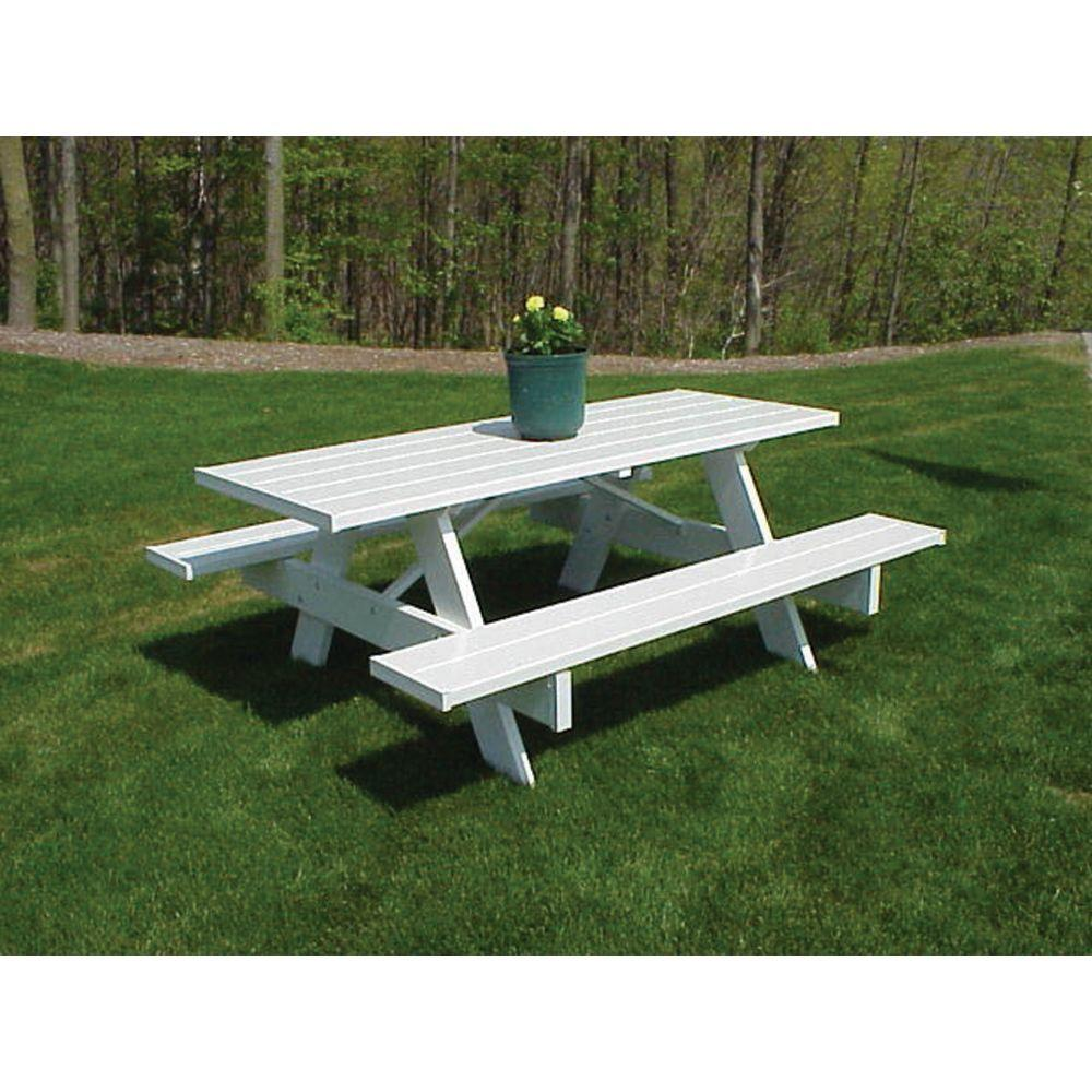 Delightful White Vinyl Patio Picnic Table