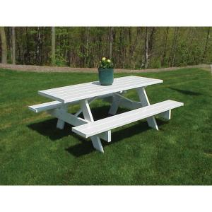 Dura-Trel 8 ft. White Vinyl Patio Picnic Table by