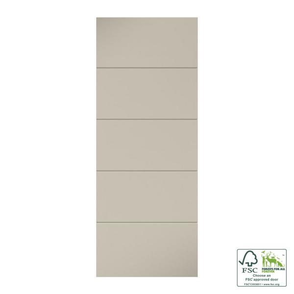 28 in. x 80 in. x 1-3/8 in. Contemporary U-Grooved Design (Atlanta) White Primed Core Flush Wood Interior Slab Door