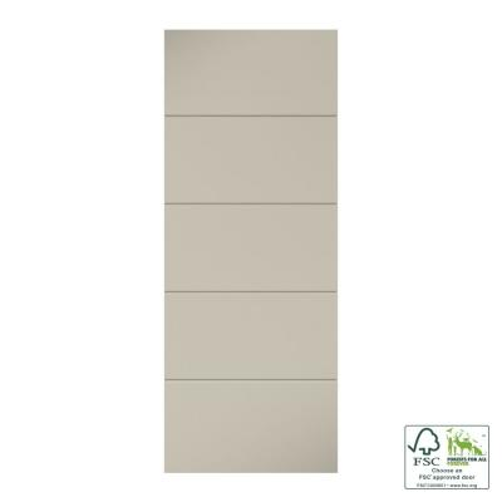 30 in. x 80 in. x 1-3/8 in. Contemporary U-Grooved Design (Atlanta) White Primed Core Flush Wood Interior Slab Door