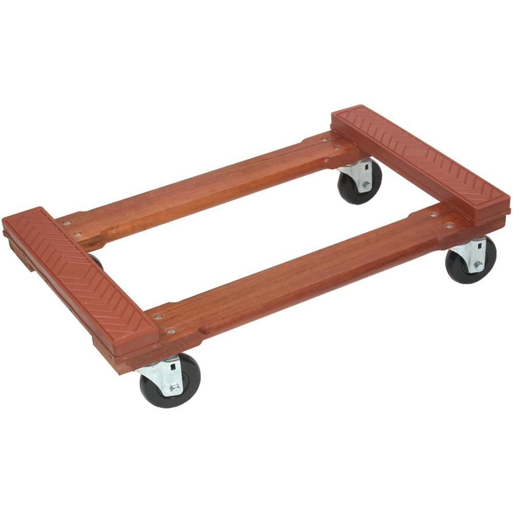 800 lb. Capacity Wood 4-Wheel Piano Rubber-Cap Dolly