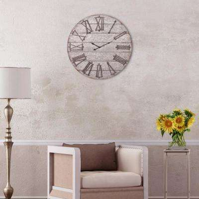 Rustic Galvanized Metal Planked Gray Wall Clock