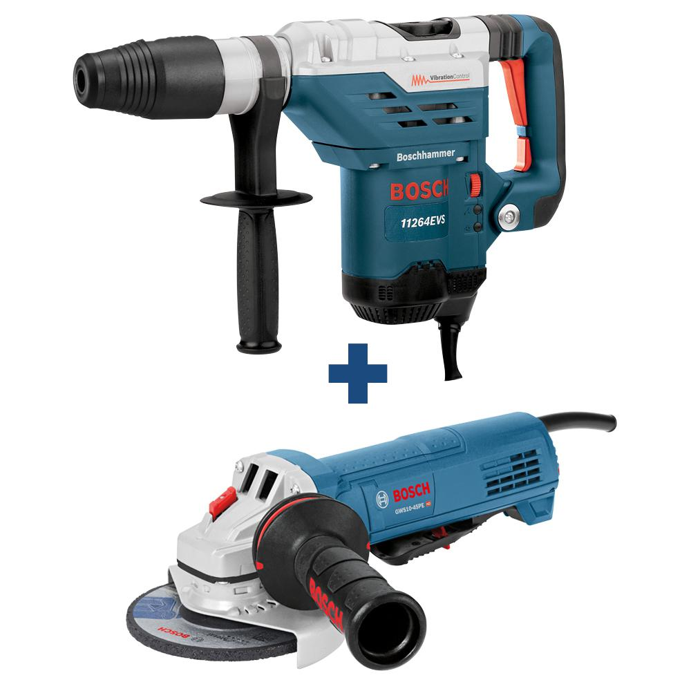 Bosch 13 Amp 1-5/8 in. Corded SDS-Max Concrete/Masonry Rotary Hammer Drill with Bonus 10 Amp Corded 4-1/2 in. Angle Grinder