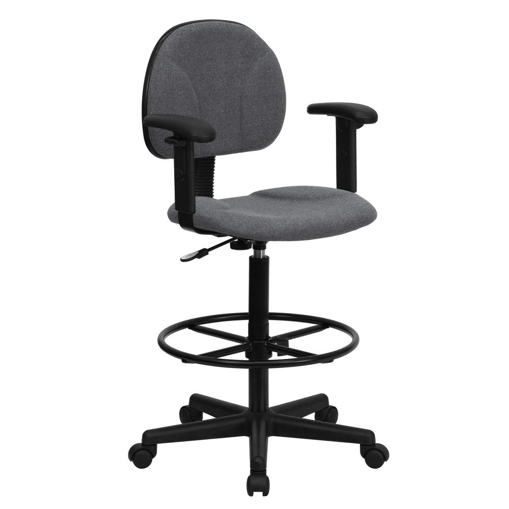 High Quality Flash Furniture Gray Fabric Ergonomic Drafting Chair With Height Adjustable  Arms (Adjustable Range 22.5u0027